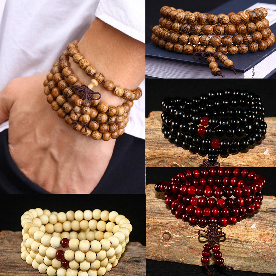 Men Bracelets Bangles Beaded Ebony Buddhist Knot Sandalwood Black Natural Prayer Women
