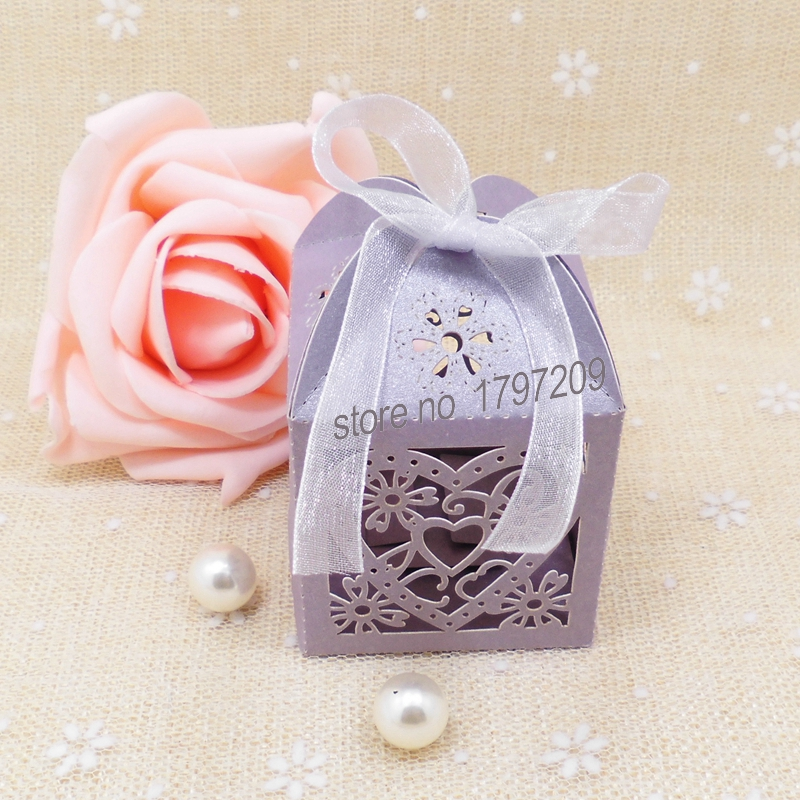 Free Shipping 50pcs Decoupage Purple Wedding Favor Box With Ribbon Baby Shower Souvenir Accessories Decoration Mariage On Aliexpress Alibaba