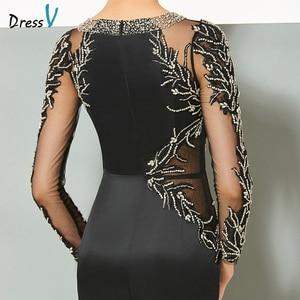 Image 5 - Dressv black long evening dress elegant scoop neck sweep train long sleeveless wedding party formal dress sheath evening dresses