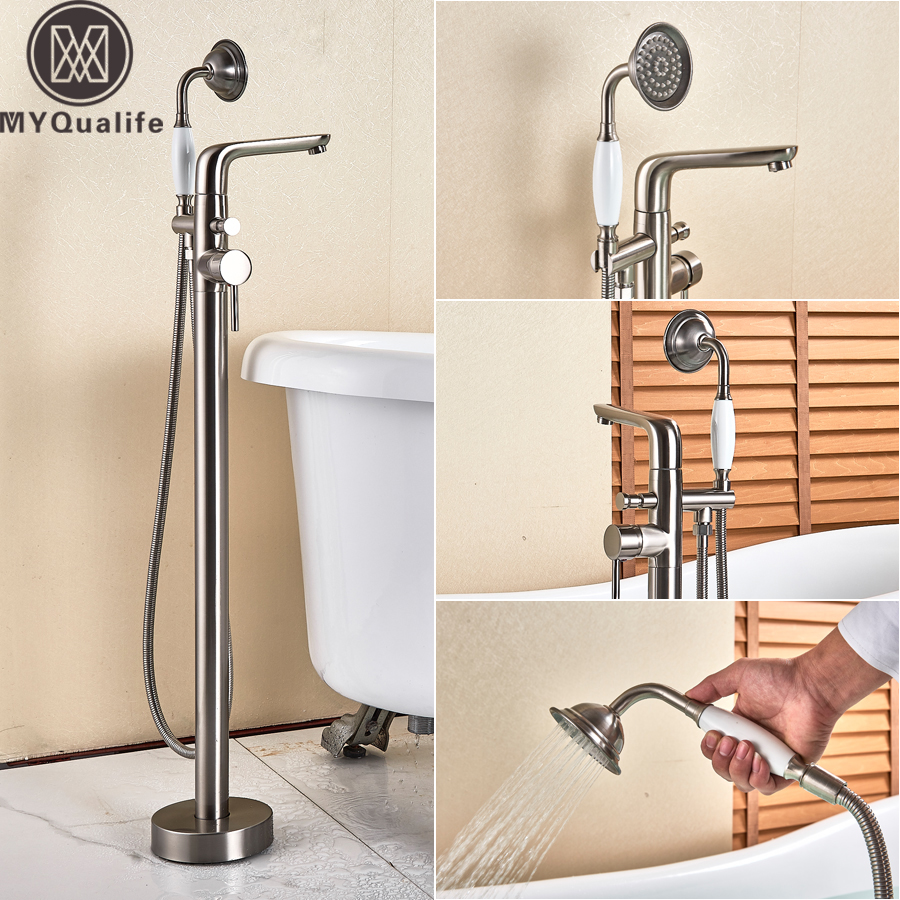 Brushed Nickel Bathtub Faucet Free Standing Bath Tub Sink Faucet with Handshower Rotate Spout Shower Mixer FaucetBrushed Nickel Bathtub Faucet Free Standing Bath Tub Sink Faucet with Handshower Rotate Spout Shower Mixer Faucet