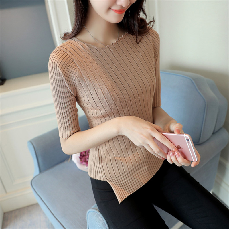 Mujeres de la manera rajó patchwork básica de manga corta suéter femenino suéter