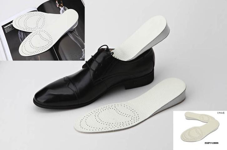 2 Pairs/lot 2.5 cm Hight Genuine Leather Insole Invisible Hight Increasing Insole Breathable Shoe Insert Foot Care