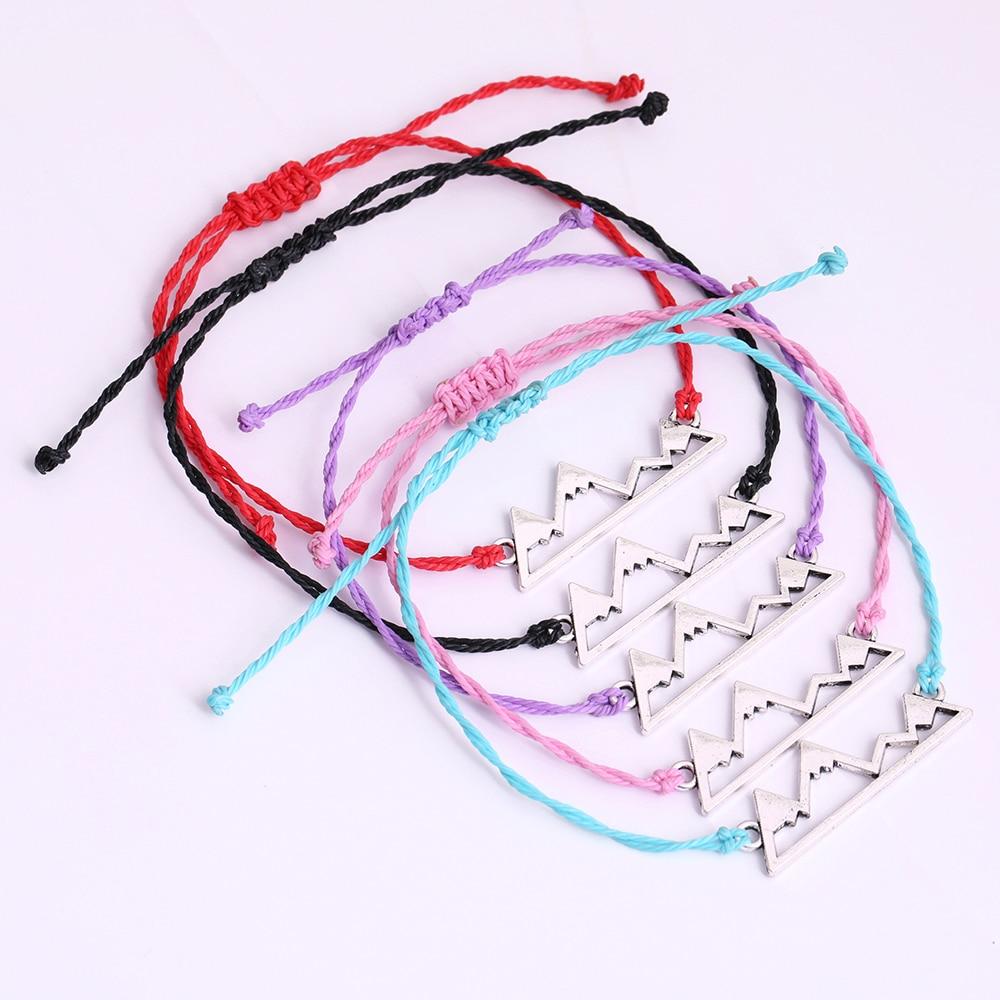 Dawapara רב צבע חוט שעוות צמיד הרים קסם מילה עגול עבודת יד באריגת יד צמיד נשים או גברים תכשיטים