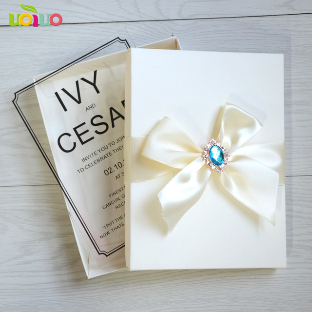 custom personalized printed acrylic invitation card with box wedding