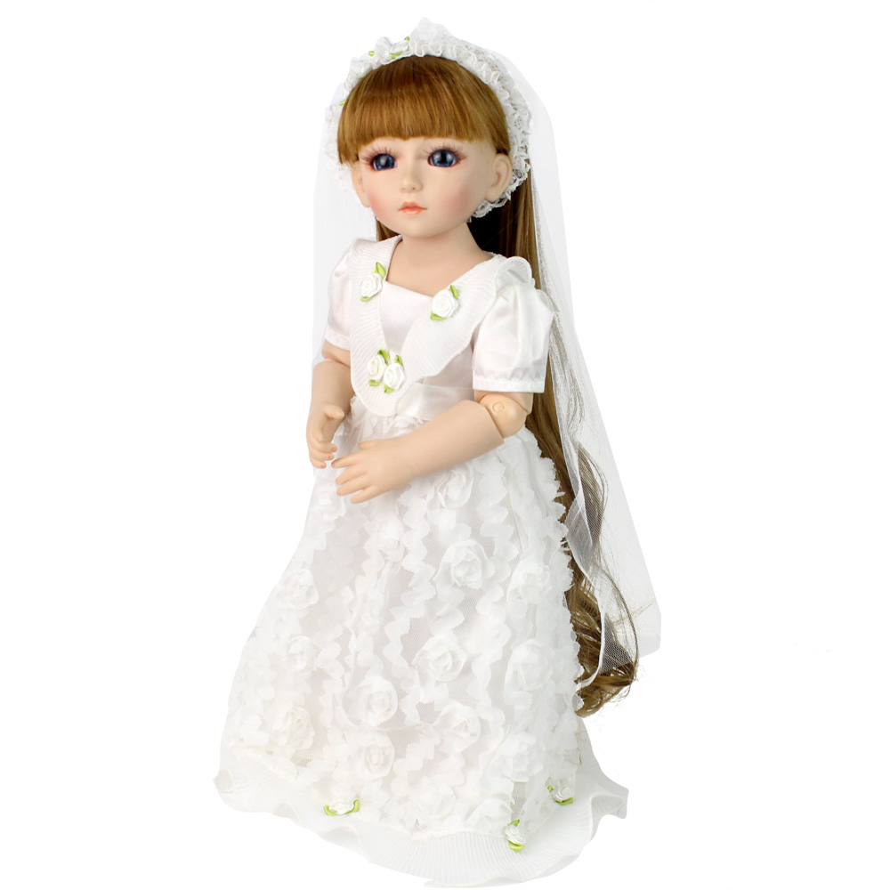 Bjd Doll Fashion Marry Wedding Bride Doll Long Hair White Clothes Kids Toys Christmas Gifts Toys