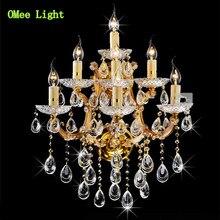 7 Oro Plata Europea de Lujo de Cristal lámpara de Pared Luces GRAN Palacio de Cristal Romántica Iluminación Lámpara de Pared Cristalina Sin Sombra