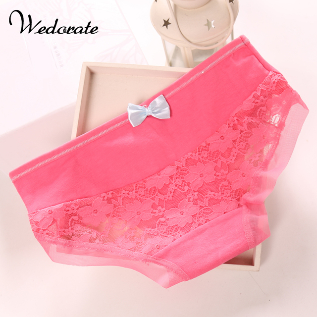 b3d1e0898ad6 Wedorate High Quality Cotton Panties for Women Sexy Lace Underwear Cute Bowtie  Low Waist Ladies Lolita Briefs Panty QH816