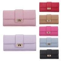 THINKTHENDO Women Leather Bifold Purse Clutch Phone Card Holders Wallet Lady Long Handbag