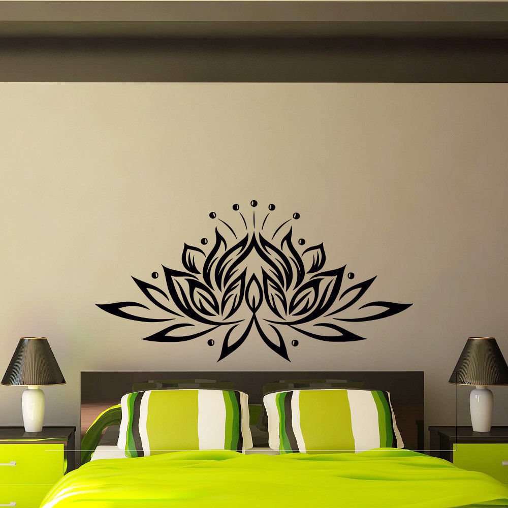 popular flower design wall decal buy cheap flower design wall lotus flower vinyl wall sticker creative design wall decals for living room bedroom background decor adhesive