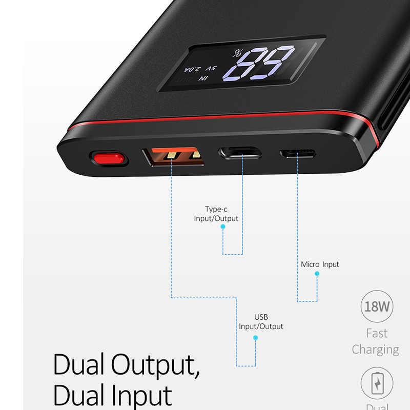 سريعة شاحن الطاقة البنك PD QC 3.0 18W شاشة LED رقمية 10000mah تجدد powerbank USAMS 9 V/2A 5V /3A بطارية خارجية USB C Poverbank