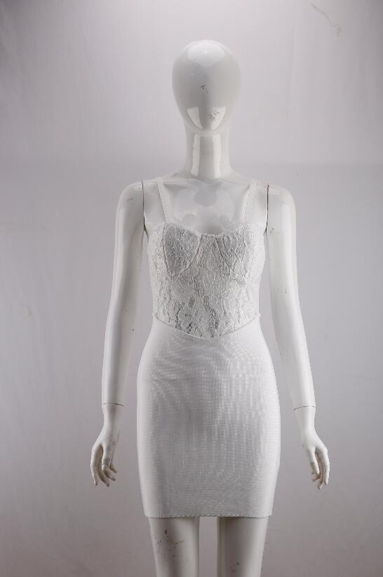 Free Shipping Summer Fashion Sexy V Neck Strap White Lace Bandage Dress 2020 Designer Elegant Evening Party Dress Vestido 4