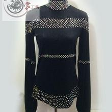 New men s latin dance costumes long sleeves diamond latin dance Velvet top for men s
