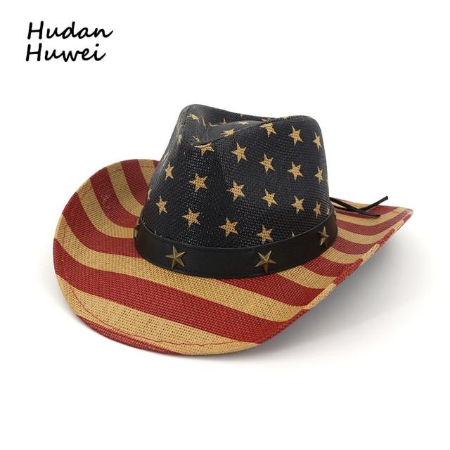 89bc43d8 Summer Retro American Flag Cowboy Hat for Men Women Paper Straw Weave Wide  Brim Sun Cap Sunhat Unisex Fedoras Beach Travel Hats