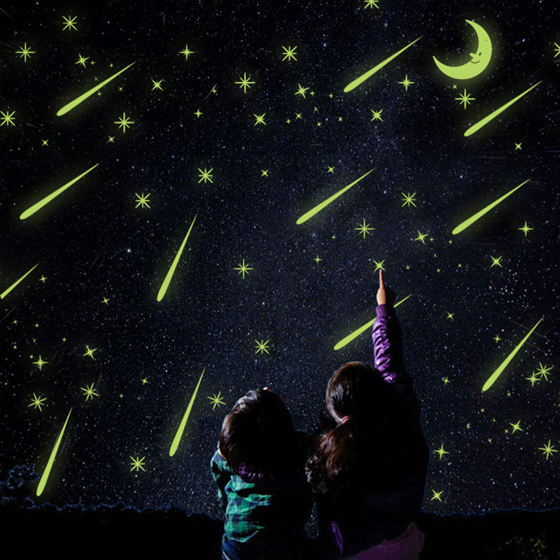 Kids room meteor shower moon luminous stickers 3D wallpaper fluorescent wall stickers dormitory windows glass decoration murals