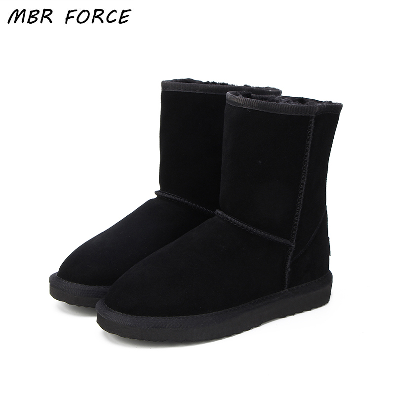 MBR FORC Classic waterproof genuine cowhide leather snow boots Wool Women Boots Warm winter shoes for