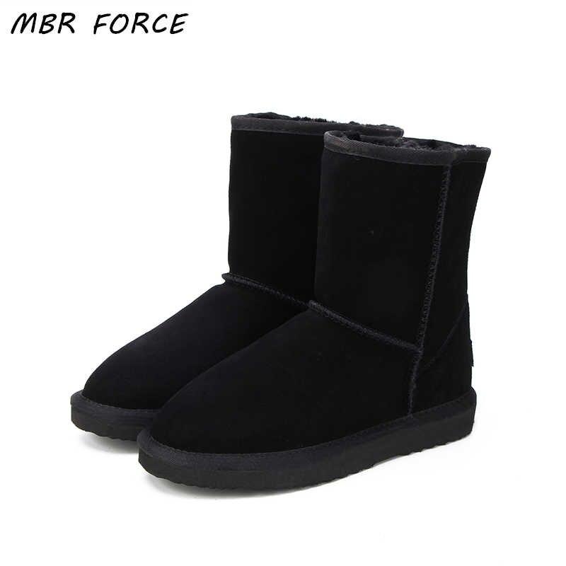 MBR FORC classique imperméable à l'eau en cuir de vachette véritable bottes de neige laine femmes bottes chaudes chaussures d'hiver pour les femmes grand US 3-13