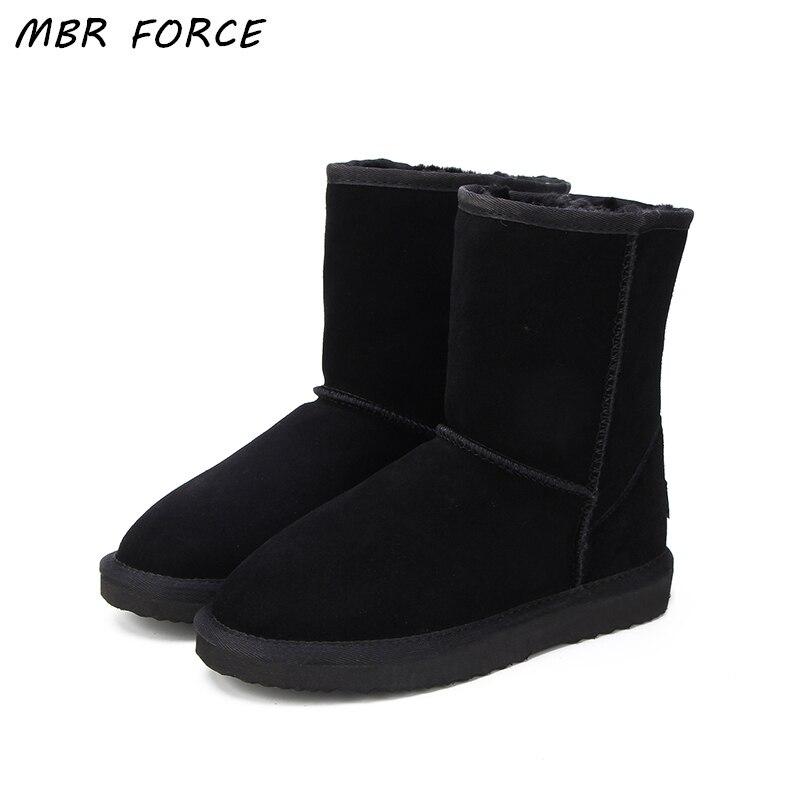 MBR FORC Classico impermeabile genuino della pelle bovina stivali da neve di Lana Donna Stivali scarpe inverno Caldo per le donne di grandi dimensioni DEGLI STATI UNITI 3 -13