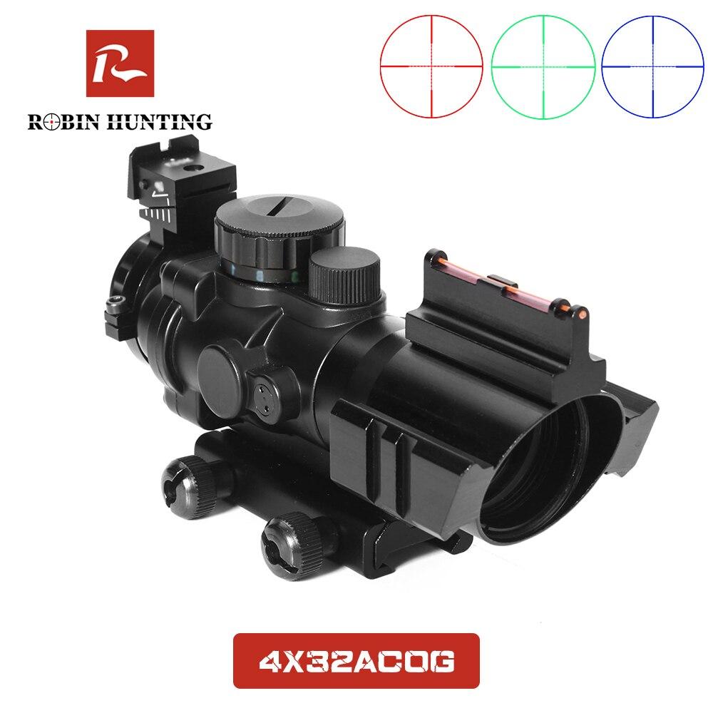 Lunette de chasse Robin chasse 4x32 ACOG Reflex tactique rouge vert illuminé optique portée de vue avec Rail en queue d'aronde 20mm