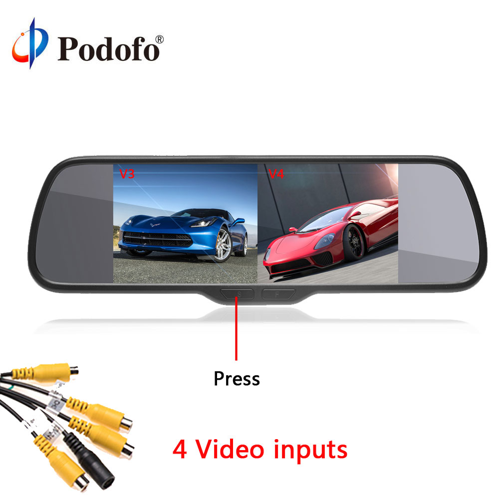 все цены на Podofo Car HD Rearview Mirror Monitor 8'' Split Screen Auto Parking Assistance LCD Display DC 12V for Reversing Camera System онлайн