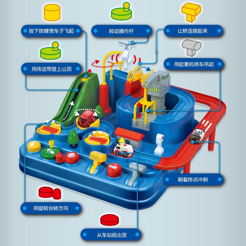 Manuelle Auto Abenteuer Track Spielzeug Für Kinder Pädagogisches Rettungs Fahrzeuge Abenteuer Spielzeug Parkplatz simulation Geschenk Für Junge
