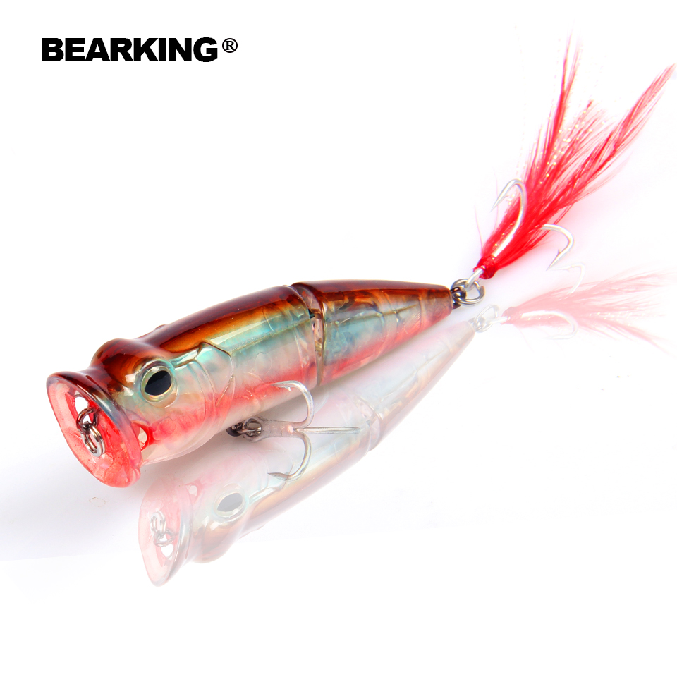 2017 Bearking Hot Model Retail fishing lures,hard bait assorted colors, popper 70mm 11g, Floating topwater baits 7 28 100g je topwater wooden popper gt surface popping lures deep sea spitter boat fishing bait open ocean angling sportfishing