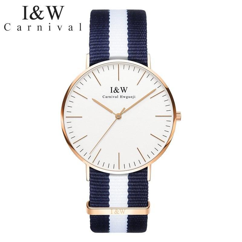 Mode Dames horloge Merk nieuwe CARNAVAL High end quartz Horloge vrouwen Waterdicht Saffier Nylon of Lederen band Montre femme 2018-in Dameshorloges van Horloges op  Groep 1