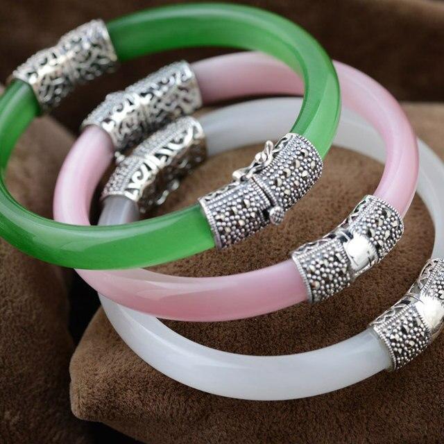 순수한 925 실버 팔찌 그린 핑크 화이트 오팔 MARCASITE 100% S925 스털링 실버 직경 5.9cm Bangles for Women Jewelry