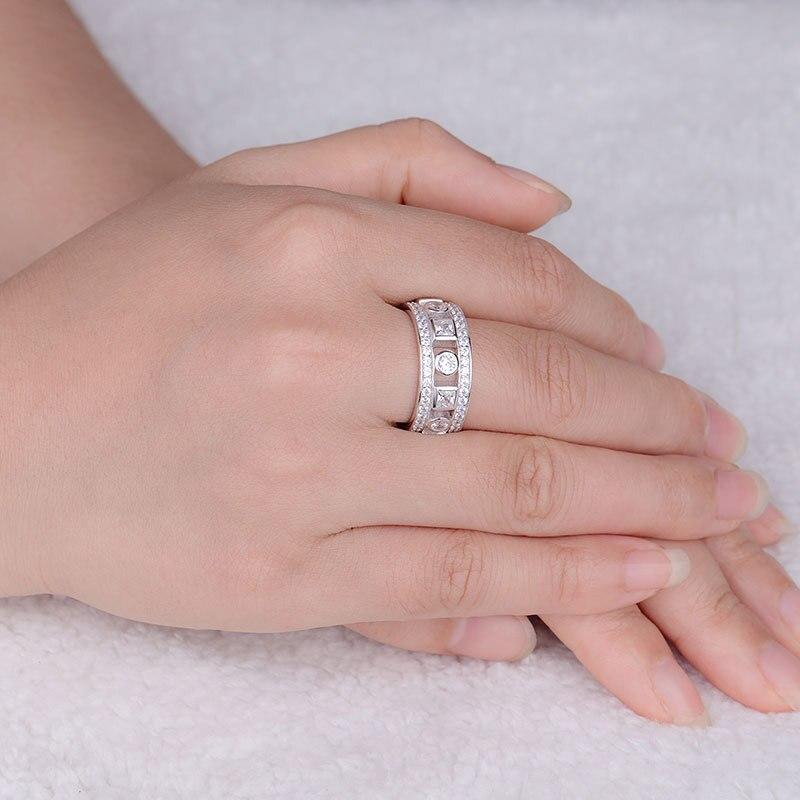 COLORFISH Vintage anneau pour les femmes mode anniversaire bijoux véritable 925 Sterling argent brillant rond 9mm anneau de mariage - 4