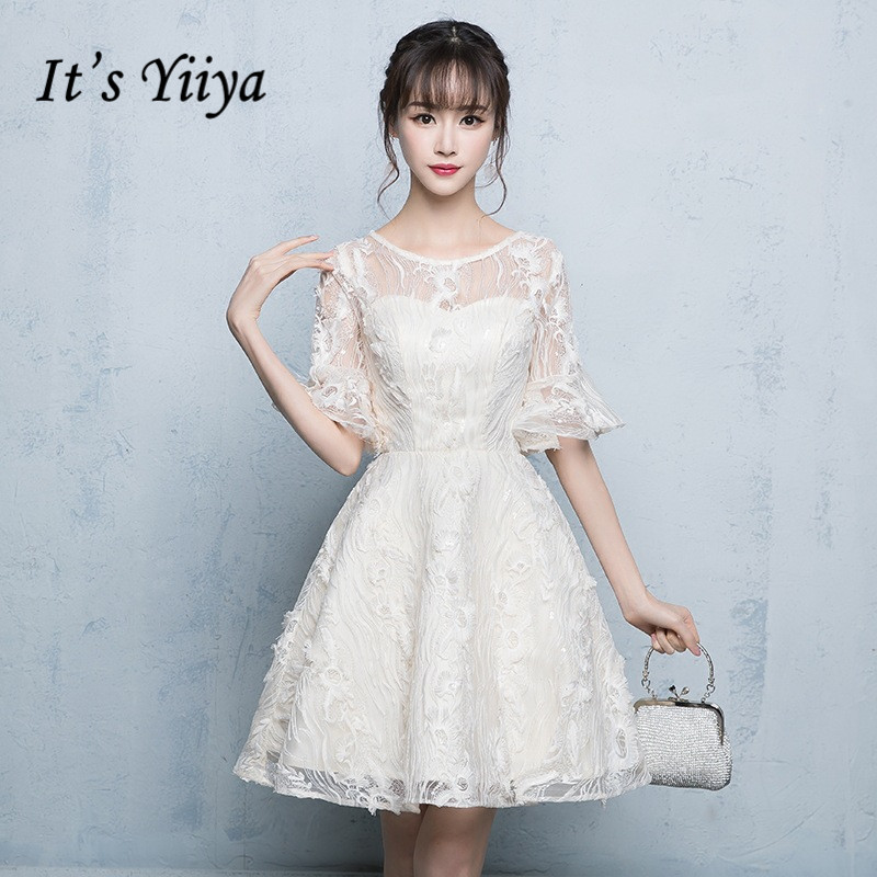 It's YiiYa Bridesmaid Dress Elegant O-neck Short Sleeve Party Ball Dresses Fashion Champagne Lace Gown For bridesmaid E082