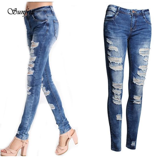 Sunfree 2016 New Hot Sale Fashion Sexy Women Denim Skinny Pants High Waist Stretch Jeans Brand New High Quality Dec 7
