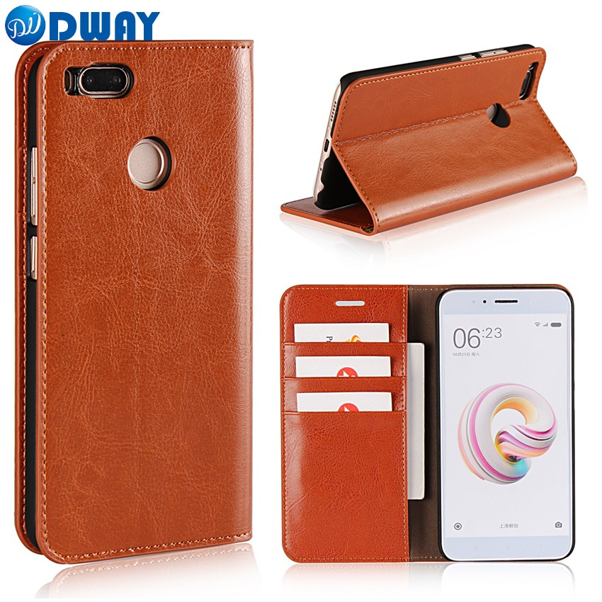 DwayBox Wallet Cover Case for Xiaomi Mi A1 Flip Book Phone Case for Xiaomi Mi 5X Luxury First Grade Cowhide Genuine Leather