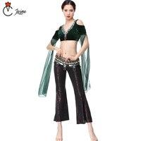 belly dance pant tribal style 3 pcs top+pant+belt Women Belly Dance Costume Coins Bra Tassel Belt Tribal Pants