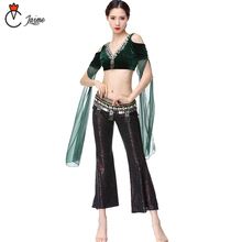 belly dance pant tribal style 3 pcs top+pant+belt Women Belly Dance Costume Coins Bra Tassel Belt Tribal Pants tribal print tassel dress