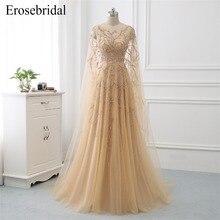 Erosebridal Pre-Sale Beaded Elegant Evening Dress 2019 New Champagne A Line Formal Women Wear with Wrap Drop Shipping