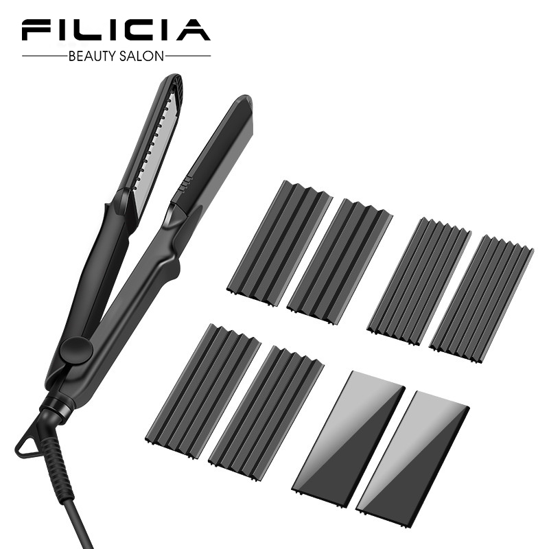 Flat Iron Corrugation Curling Iron Negative Ions 4 in 1 Hair Curler Hair Straightener with 4 Interchangeable Plates Ceramic Flat Iron Corrugation Curling Iron Negative Ions 4 in 1 Hair Curler Hair Straightener with 4 Interchangeable Plates Ceramic