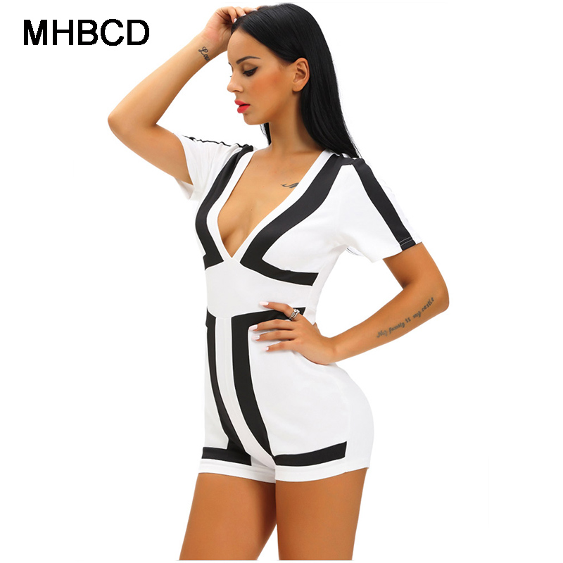 d341f39deb8 MHBCD Summer Sexy Club Fashion Women Plus Size Playsuits Black White V  Collar Short Sleeves Zipper Playsuits Overalls Catsuit-in Rompers from  Women s ...