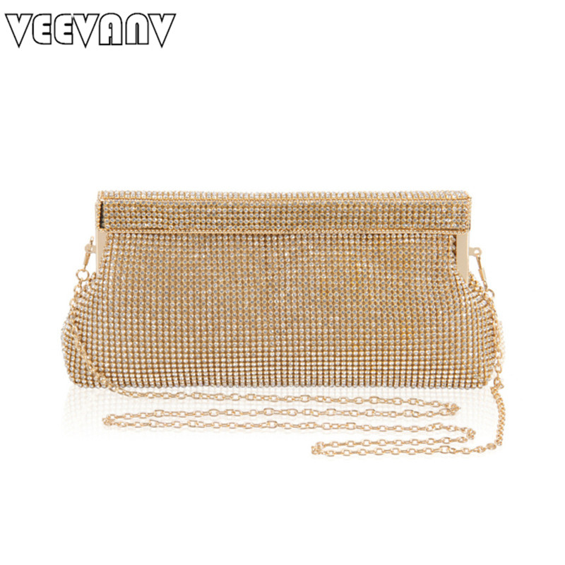 2017 Luxury Crystal Women Clutch Bag VEEVANV Evening Bags Chain Shoulder Bags Female Handbags Party Purses Prom Box Day Clutches new sequin clutch bag finger ring evening bag hard box clutch chain sshoulder bag crossbody bags for women purses and handbags