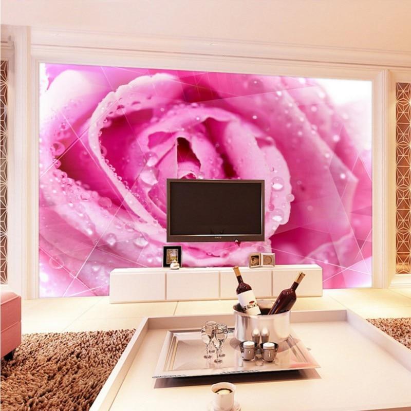wallpaper for walls 3 d Beautiful pink dripping rose modern ...
