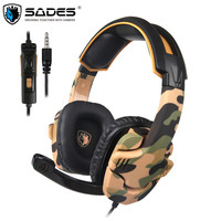 SADES SA 930 Casque Camouflage Gaming Headset PC Gamer Stereo Headphones with Microphone for PS4 Cell Phone New Xbox One Laptop