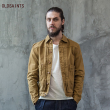 Oldsaints New Retro Men's Clothing Spring Autumn Fashion Simply Jacket Slim Long Sleeve Khaki Jean Jacket OS-053-1