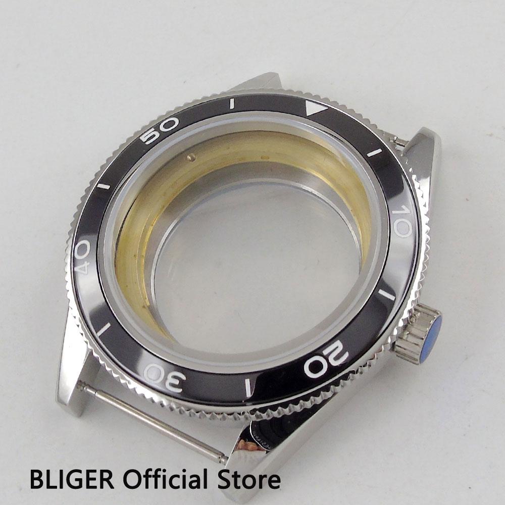 лучшая цена Sapphire Glass 41MM Sterile Stainless Steel Black Ceramic Bezel Watch Case Fit For ETA 2824 2836 Automatic Movement C72