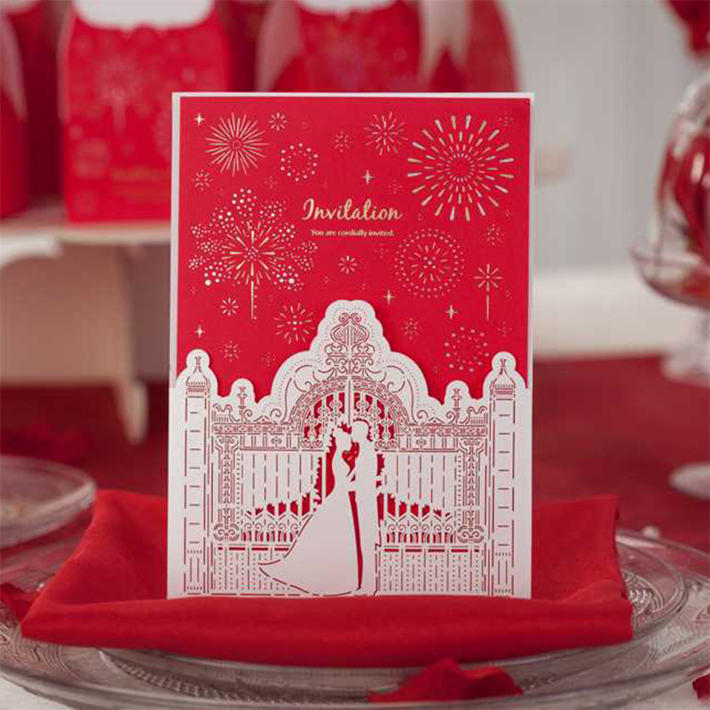 Design Cartoon Castle Flower Laser Cut Wedding Invitation Print Blank Cards Lace Paper Envelope Seal Fold Style 50 100 Lot tri folding red white laser cut lace wedding invitations lot paper blank printing invitation cards kit post greeting casamento