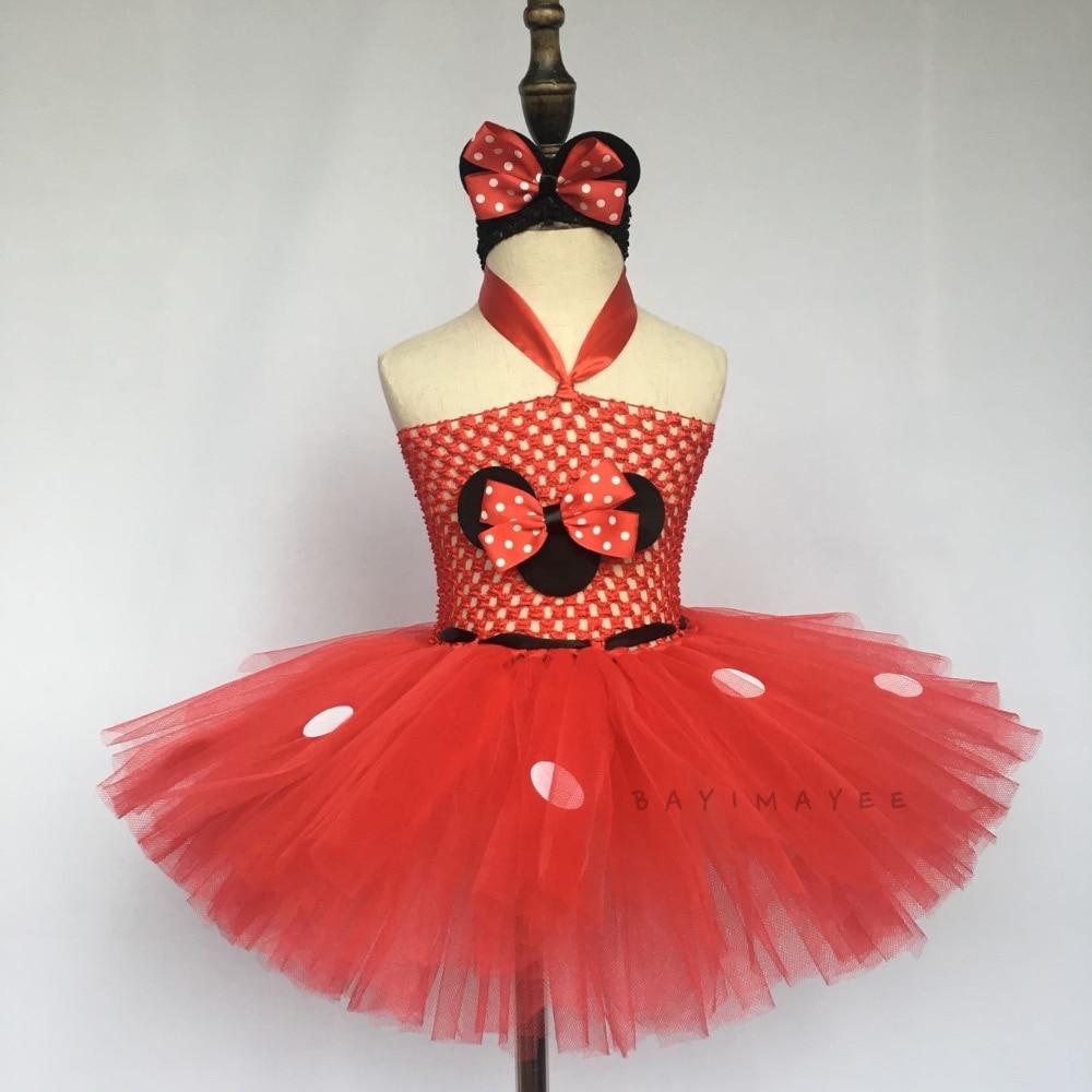 a63e5fdeea3b4b € 8.14 10% de réduction Jolies filles rose Cartoon robe bébé 2 couches  Crochet Tutu robe avec des points blancs et bandeau enfants Cosplay robe ...