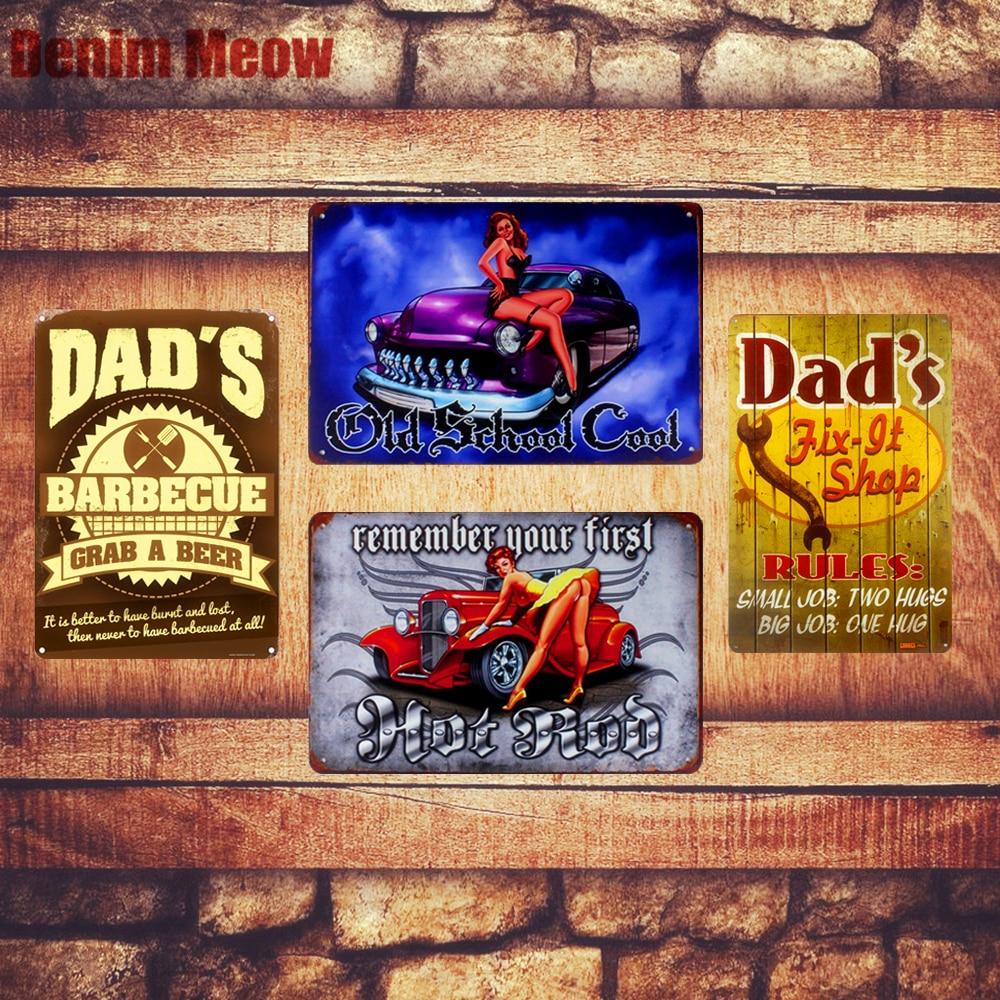 DAD'S Garage Plaque Vintage Metal Tin Signs Home Bar Pub