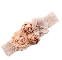 2018 newborn headband rose hair band Chiffon flower lace elastic Rhinestone headbands children girls hair accessories 18colors cheap Headwear Unisex Fashion wowsorie Floral Cotton Acrylic