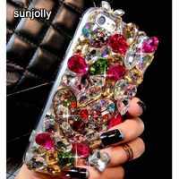 Sunjolly diamante Rhinestone Bling cubierta de cristal de coque para Samsung Galaxy A3 A5 A7 J3 J5 J7 2016 2017 A3710 a510 J520 J730