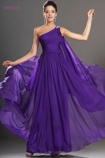 Purple   Evening     Dresses   2019 A-line One-shoulder Floor Length Chiffon Plus Size Long   Evening   Gown Prom   Dresses   Robe De Soiree