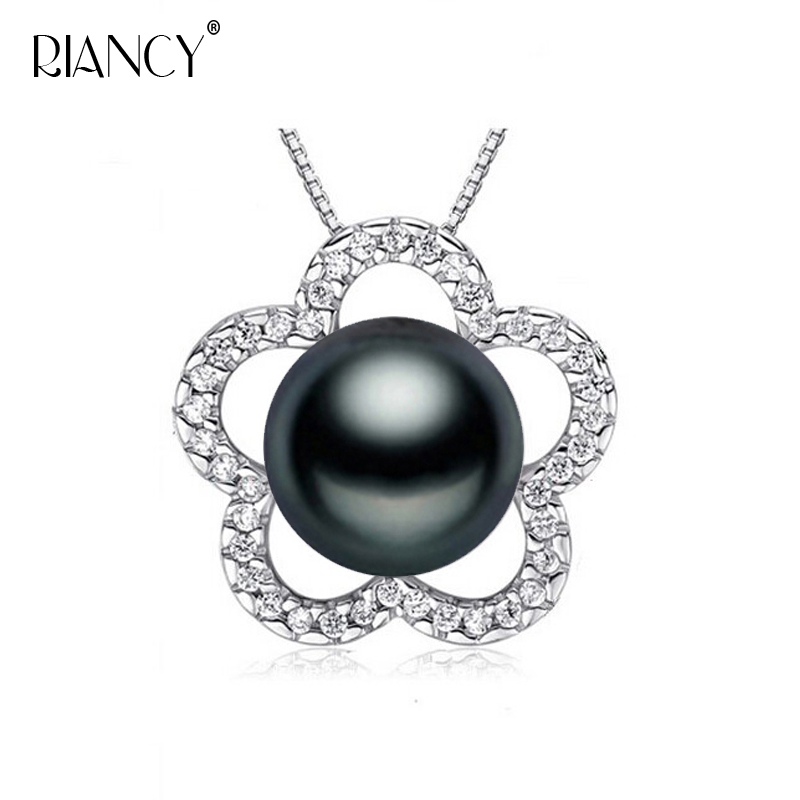 Fashion 925 sterling silver Pearl Pendant Necklace Jewelry Natural Freshwater 10-11mm big Pearl Pendants Pearl Jewelry For Women image