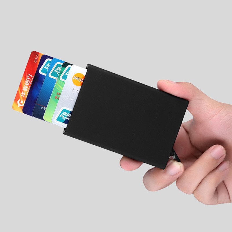 2018 New Arrivals High Quality Credit Card Holder Slim Metal Wallet Protector Case Automatic Pop up ID Business Cardholder ...