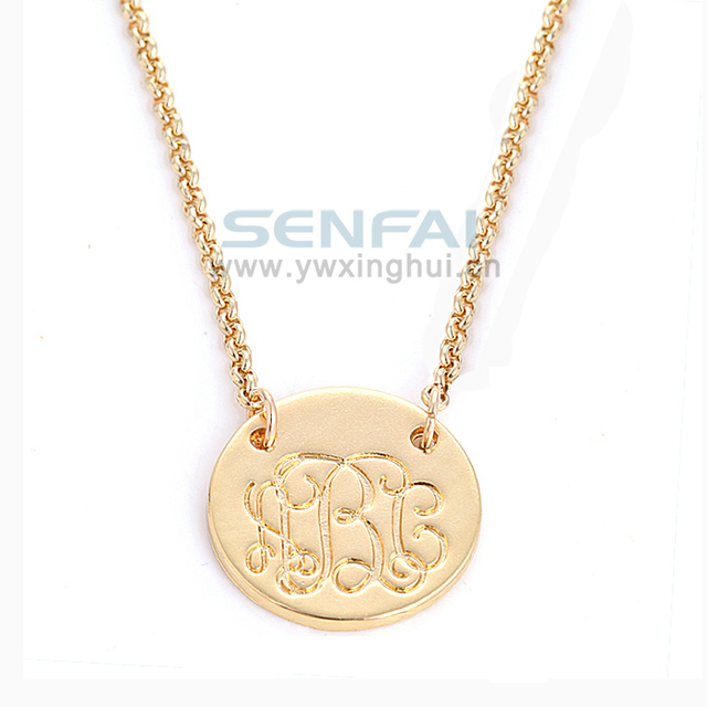 Hot Personalized Gold Initial Letter Pendant Necklace Hand Stamped